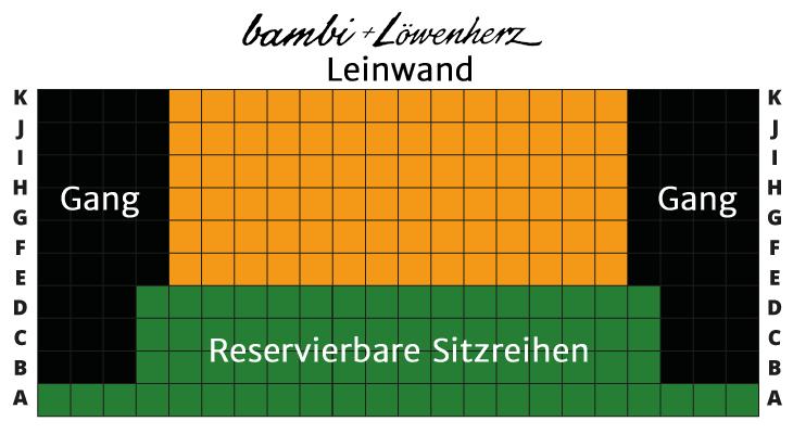 bambi + Löwenherz Kino-Sitzplan für reservierbare Sitzreihen