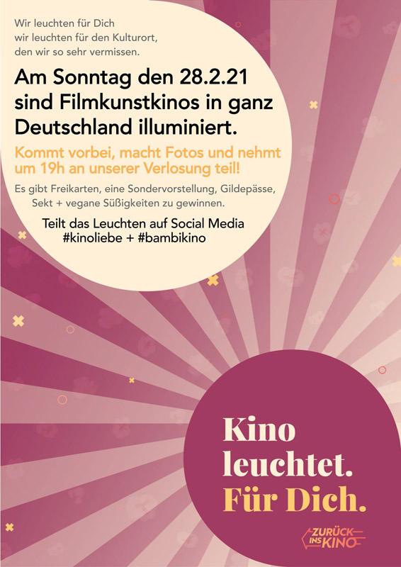 Kino leuchtet. Für dich. #kinoliebe + #bambikino